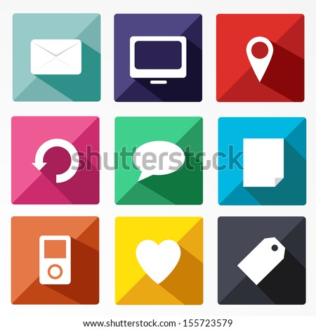 icons long shadow - stock vector