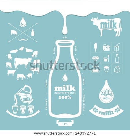 Icons milk products - stock vector