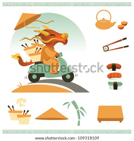 Icons of asian food - stock vector
