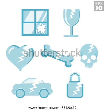 Icons of broken everyday things - stock vector