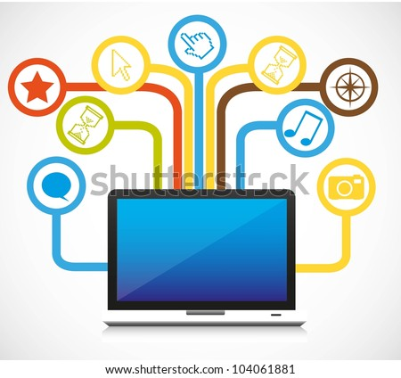 Icons of connectivity. Icons of communication coming out of a laptop. - stock vector