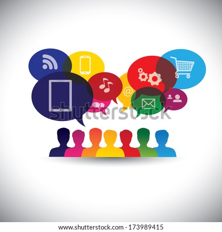 icons of consumers or users online in social media, shopping - vector graphic. This graphic also represents social media communication, internet shopping, web chat, social networking & interaction - stock vector
