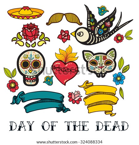 Icons Of Day The Dead A Traditional Holiday In Mexico Skulls Flowers