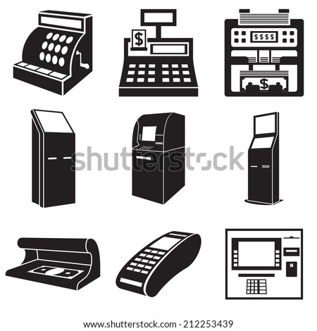 Icons of devices for money: cash register, bill counter, ATM, payment terminal, currency detector. Vector illustration - stock vector