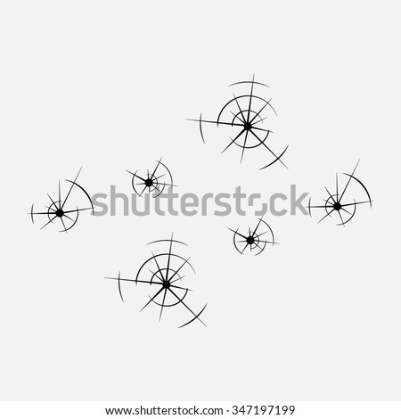 icons of different caliber bullets, the bullet hole, violence, gangsters, shooting, gunshot wounds,Bullet holes Damage, Bullet hole set, Bulletholes vector illustration - stock vector