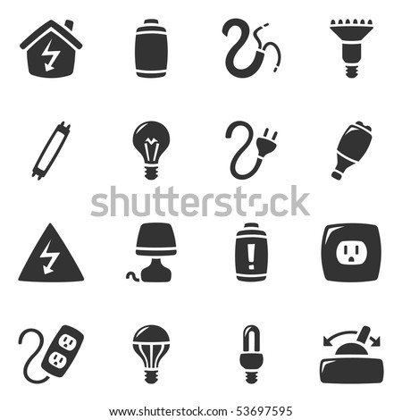 Icons of different electrical devices. Slightly asymmetric and curvy. - stock vector