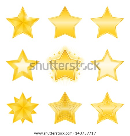 Icons of different golden stars, vector eps10 illustration