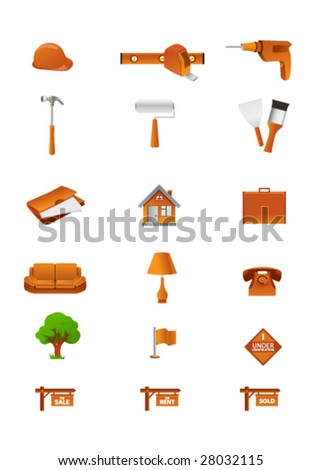 Icons of different home-related tools - stock vector
