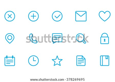 Icons of different, icons office, close icons, add icons, fulfilled icons, letter icons,  - stock vector