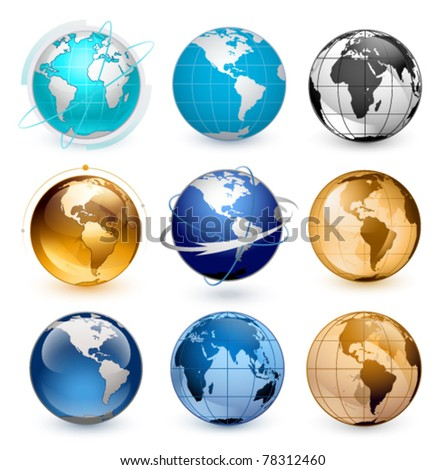 Icons of Earth on a white background The base map is from http://www.lib.utexas.edu/maps/world.html