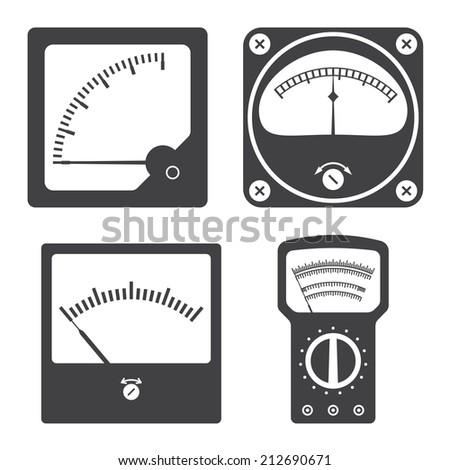Icons of electrical measuring instruments. Vector illustration - stock vector