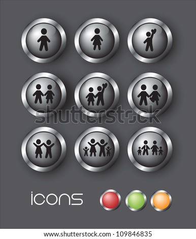 Icons of family over gray background vector illustration - stock vector