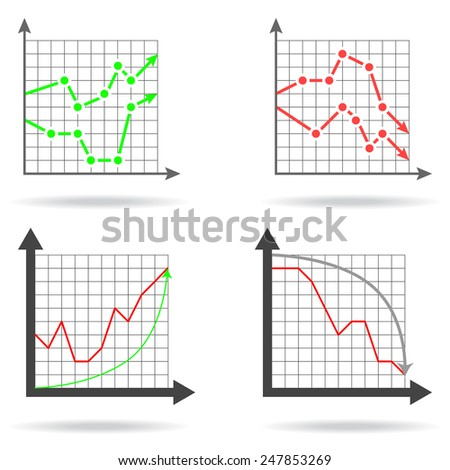 Icons of financial charts on white background, 2d illustration, vector, eps 8 - stock vector