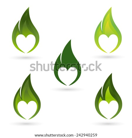 Icons of fire with heart silhouette - stock vector