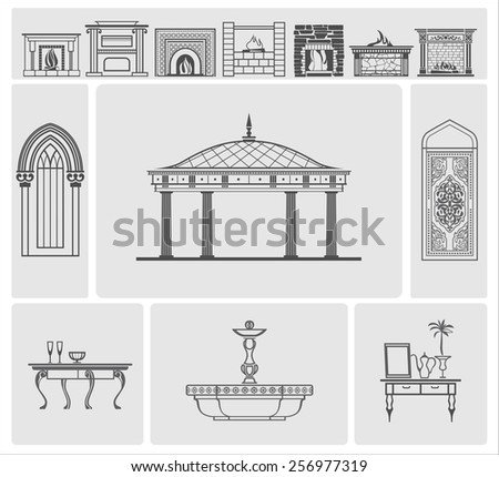 icons of fireplaces and decorative architectural elements, vector - stock vector
