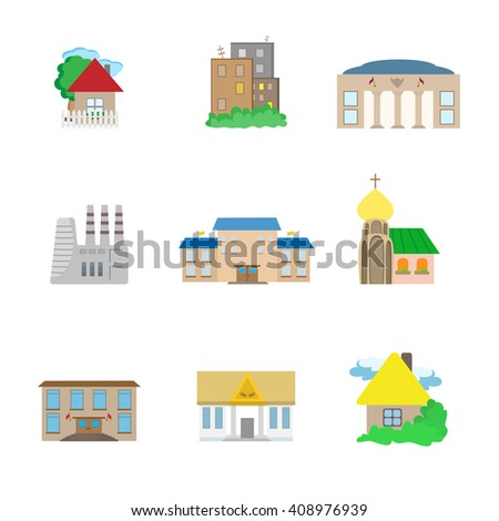 Icons of flat urban architectural buildings isolated on white background - stock vector
