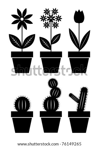 Icons of flowers - stock vector