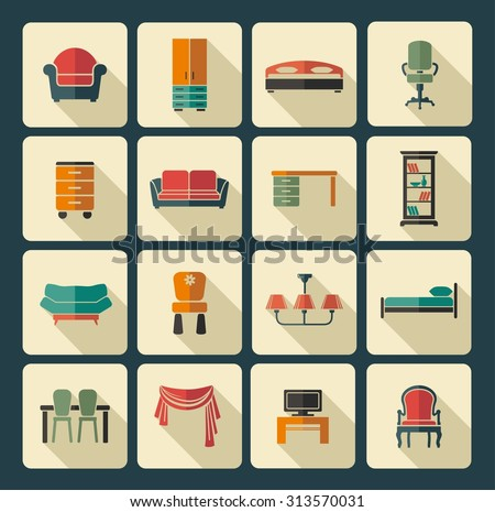 Icons of furniture and accessories for an interior - stock vector