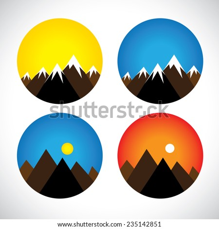 icons of hills & peaks with snow in evenings, mornings - concept vector graphic. The graphic can also represent mountain ranges like the himalayas, andes, alps and also adventure sports & activities - stock vector