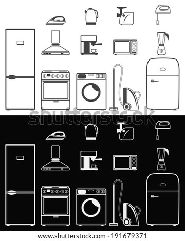 Icons of household appliances on white and black backgrounds - stock vector