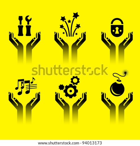 icons of human hands holding various symbols - stock vector
