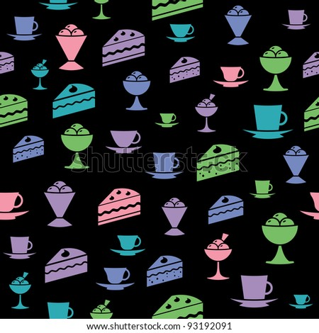 icons of ice-cream, cake, mug on wallpaper - stock vector