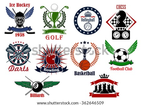 Icons of ice hockey, football or soccer, basketball, volleyball, bowling, billiards, chess, golf and darts for sport club emblems or tournament badges design usage - stock vector