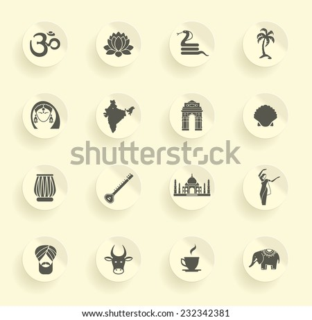 Icons of India - stock vector