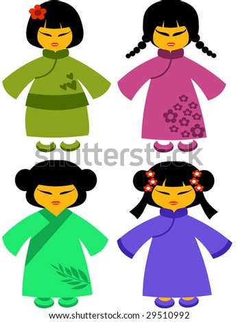 icons of japanese dolls in the traditional dresses