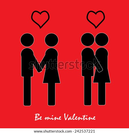 Icons of love relationships: a declaration of love, kiss,valentine's day - stock vector