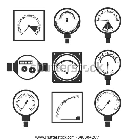 icons of measuring instruments - stock vector