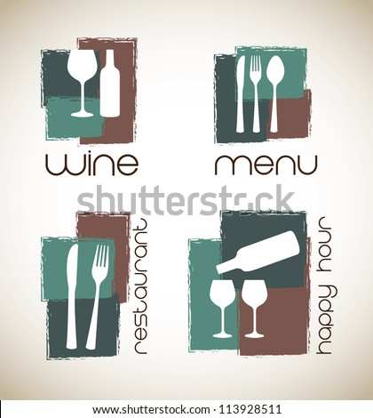 icons of menu and wine  over white background - stock vector