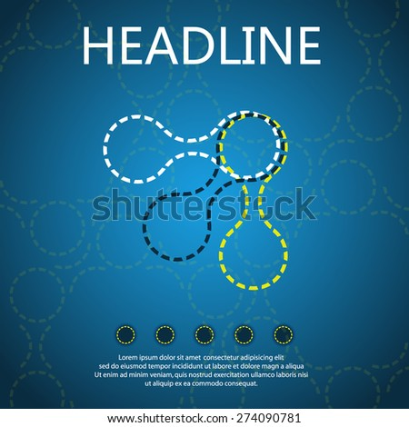 Icons of molecules on a blue background, vector design, DNA. - stock vector