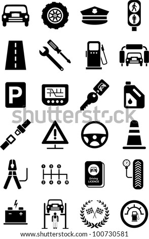 icons of motor vehicles, automobile, traffic, mechanical, safety... - stock vector