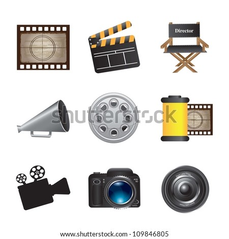 icons of movie, film and cinema over white background - stock vector