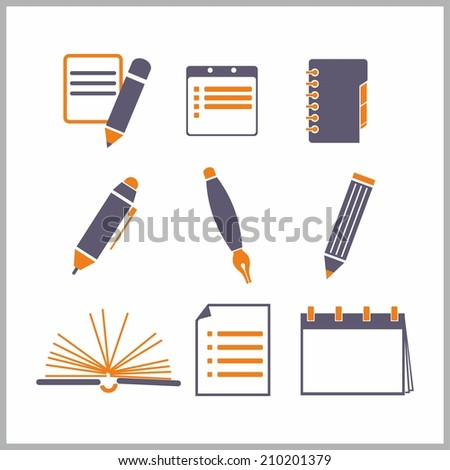 Icons of notepads and pencils - vector illustration