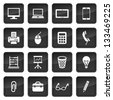 Icons of office devices and equipment with dark buttons in background - stock vector