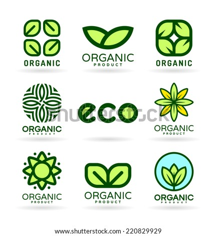 Icons of Organic Products and Ecology. Eco Icons (16) - stock vector