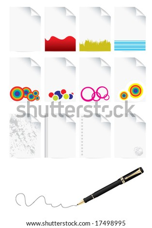 icons of paper and pen set - stock vector