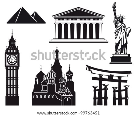 Icons of sights of the different countries of the world - stock vector