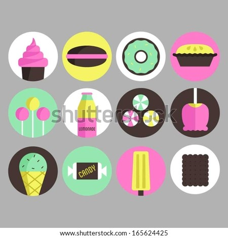 Icons of sweets, candies and cakes. - stock vector