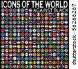icons of the world against black background, abstract vector art illustration - stock photo