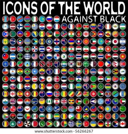 icons of the world against black background, abstract vector art illustration - stock vector