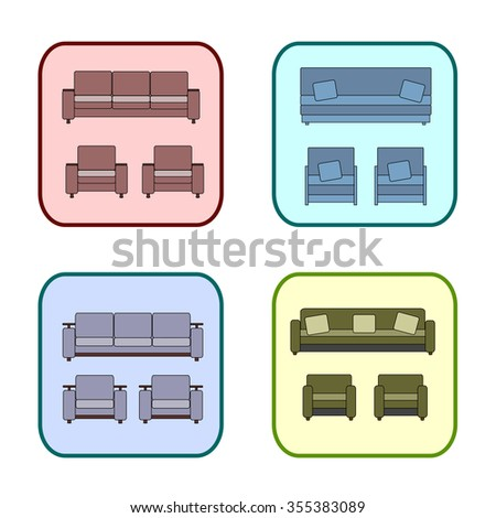 Icons of upholstered furniture. Sofa and chair colorful icons. Icons for a furniture store. Icons for furniture site. Sofas and armchairs vector icons. Upholstered furniture icons poster.  - stock vector