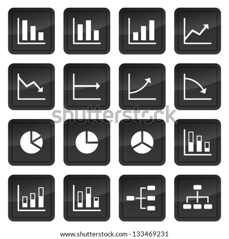 Icons of various charts and diagrams with black buttons in background - stock vector