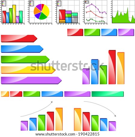 Icons of various graph, charts and diagrams. - stock vector