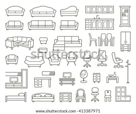Icons of various kinds of furniture for home and office - stock vector