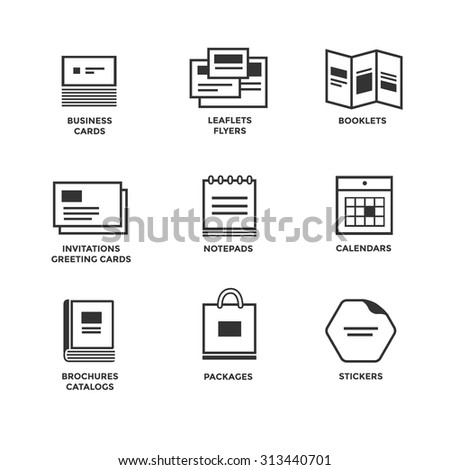 Icons of various print media. Size, format. Business card flyers calendars greeting cards brochures catalogs.  - stock vector
