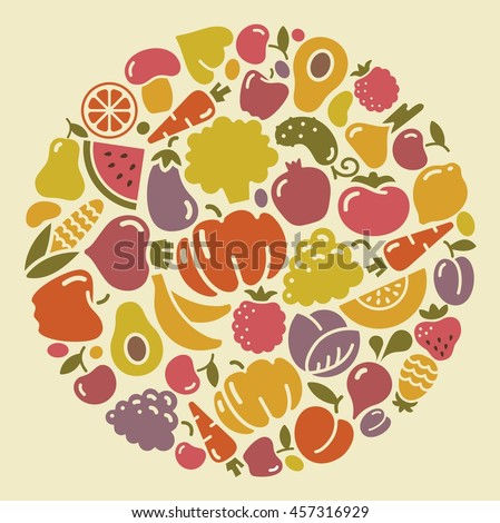 Icons of vegetables and fruit in the form of a circle - stock vector