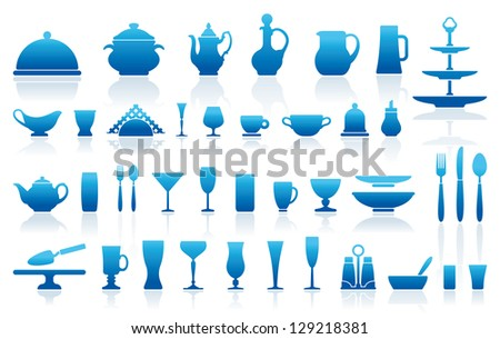 Icons of ware for table layout - stock vector